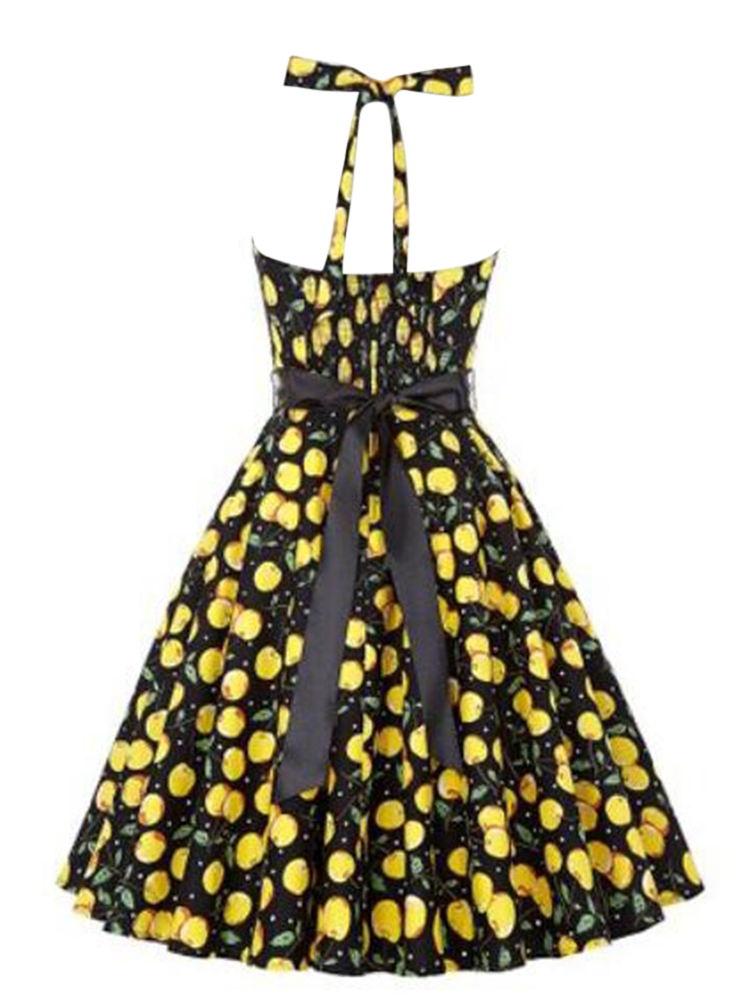 Hepburn Wind Women Vintage Floral Printed Halter Backless Swing Dress