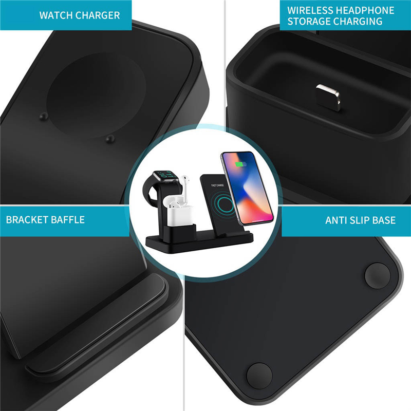 Bakeey 3 In 1 7.5W/10W Fast QI Wireless Charger Station Stand For iPhon-e Appl-e Watch 1/2/3/4 Series Airpo-ds