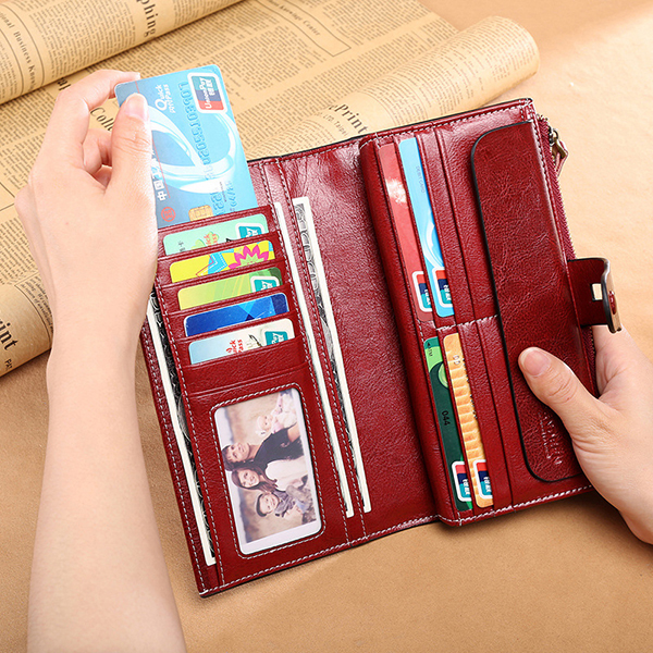 Women Vintage Genuine Leather Multi-function Long Wallet
