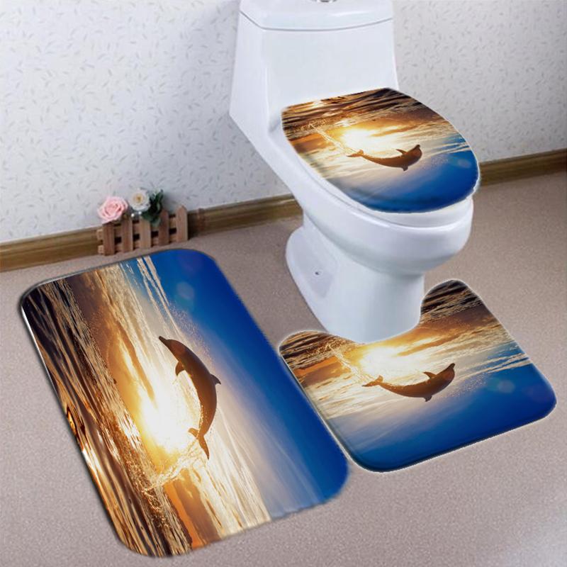 Dolphin Pattern Shower Curtain Waterproof Fabric Bath Accessory 3D Printing Ocean Curtain for Bathroom Green