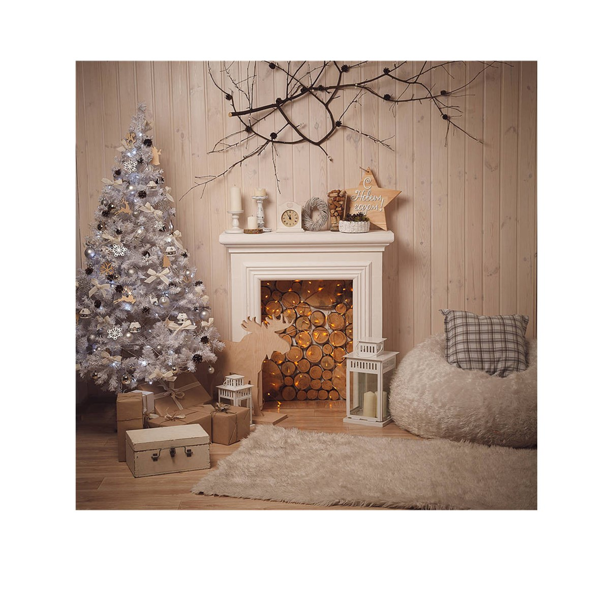 5x5FT Christmas Fireplace Theme Photography Backdrop Studio Prop Background