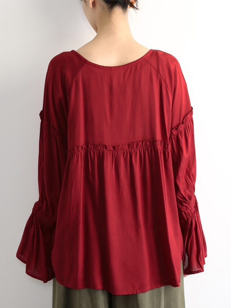 Women Flared Sleeve O-neck Pleated Solid Blouse