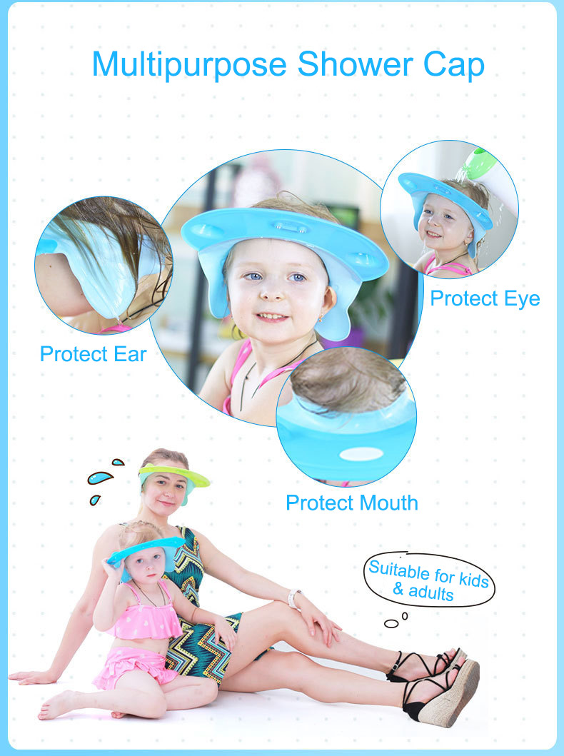 Vvcare BC-AR03 Adjustable Baby Shower Cap Soft Bath Shampoo Visor Hat Bathing Hair Washing Protector for Baby Kids