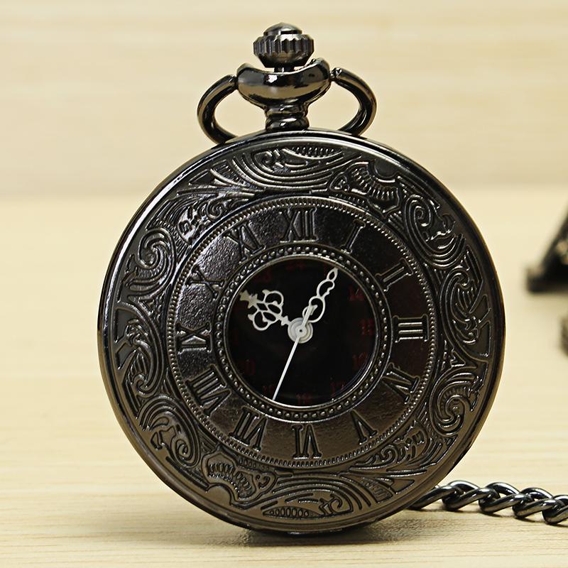 DEFFUN Vintage Hollow Roman Flower Alloy Pocket Watch