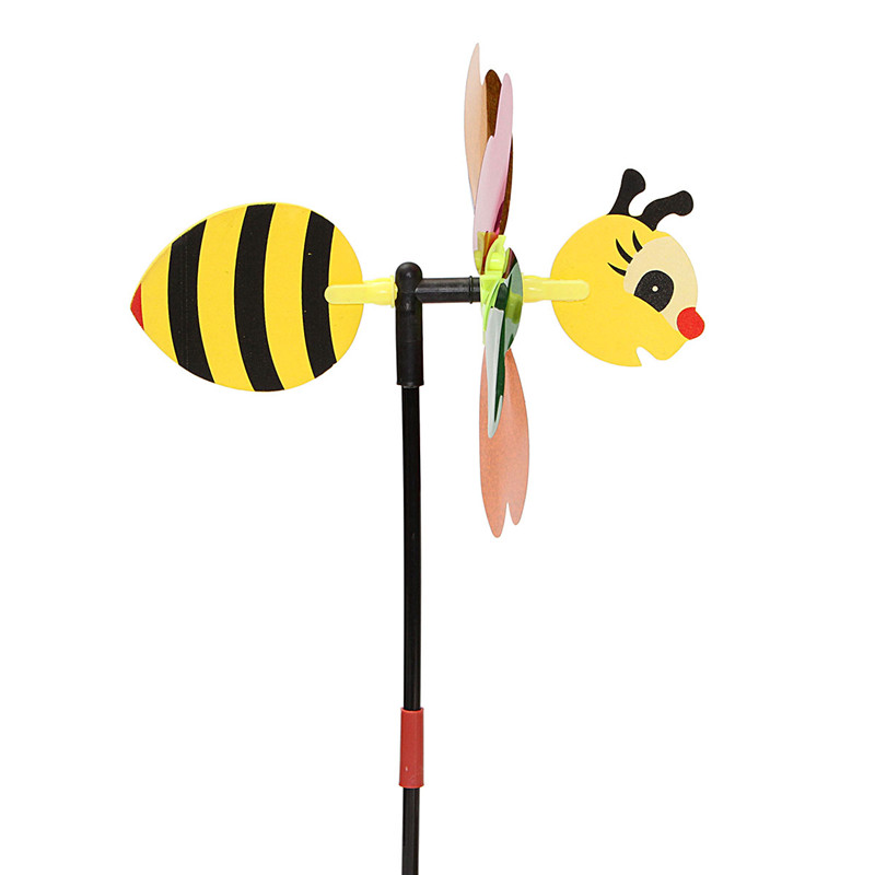 DIY Bee Windmill Kit Random Color Home Yard Decor Pinwheel Wind Spinner Whirligig Toy Camping Decor