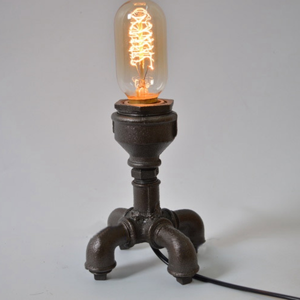 Creative Retro Industrial Water Pipe Table Light for Bar Cafe Decor