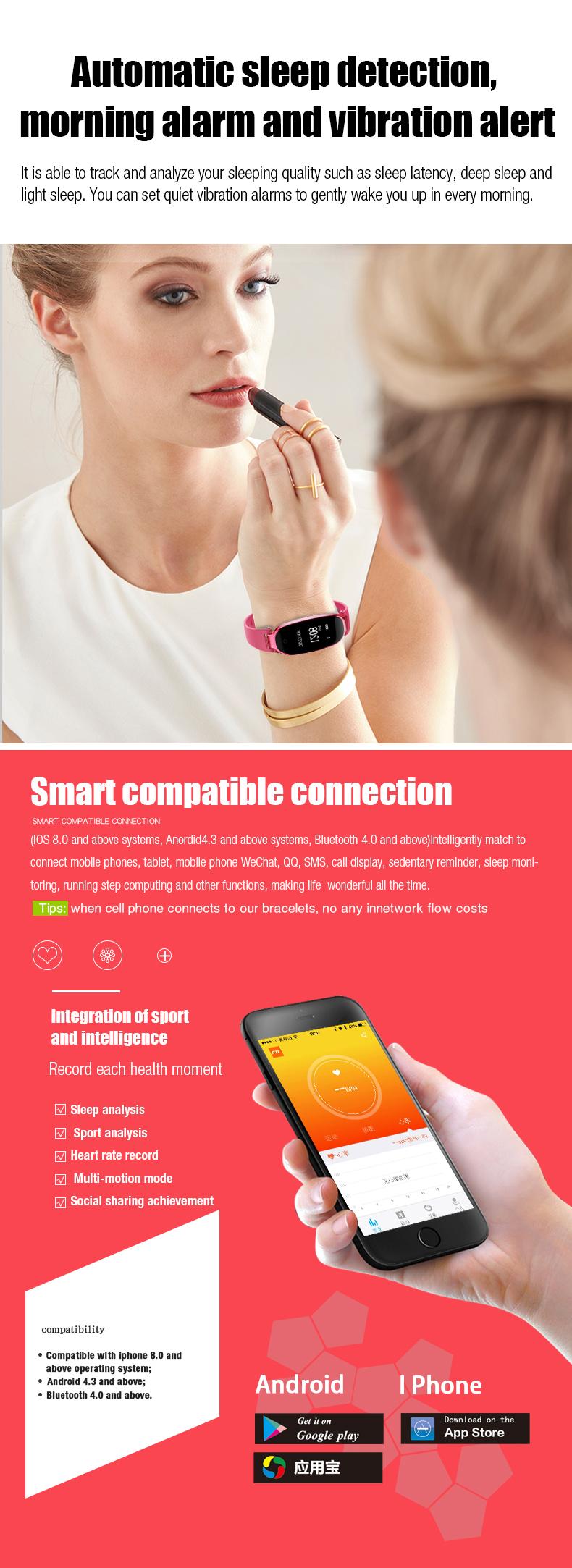 KALOAD S3 Women Smart Bracelet Female Model Heart Rate Monitor IP67 Waterproof Sports Watch