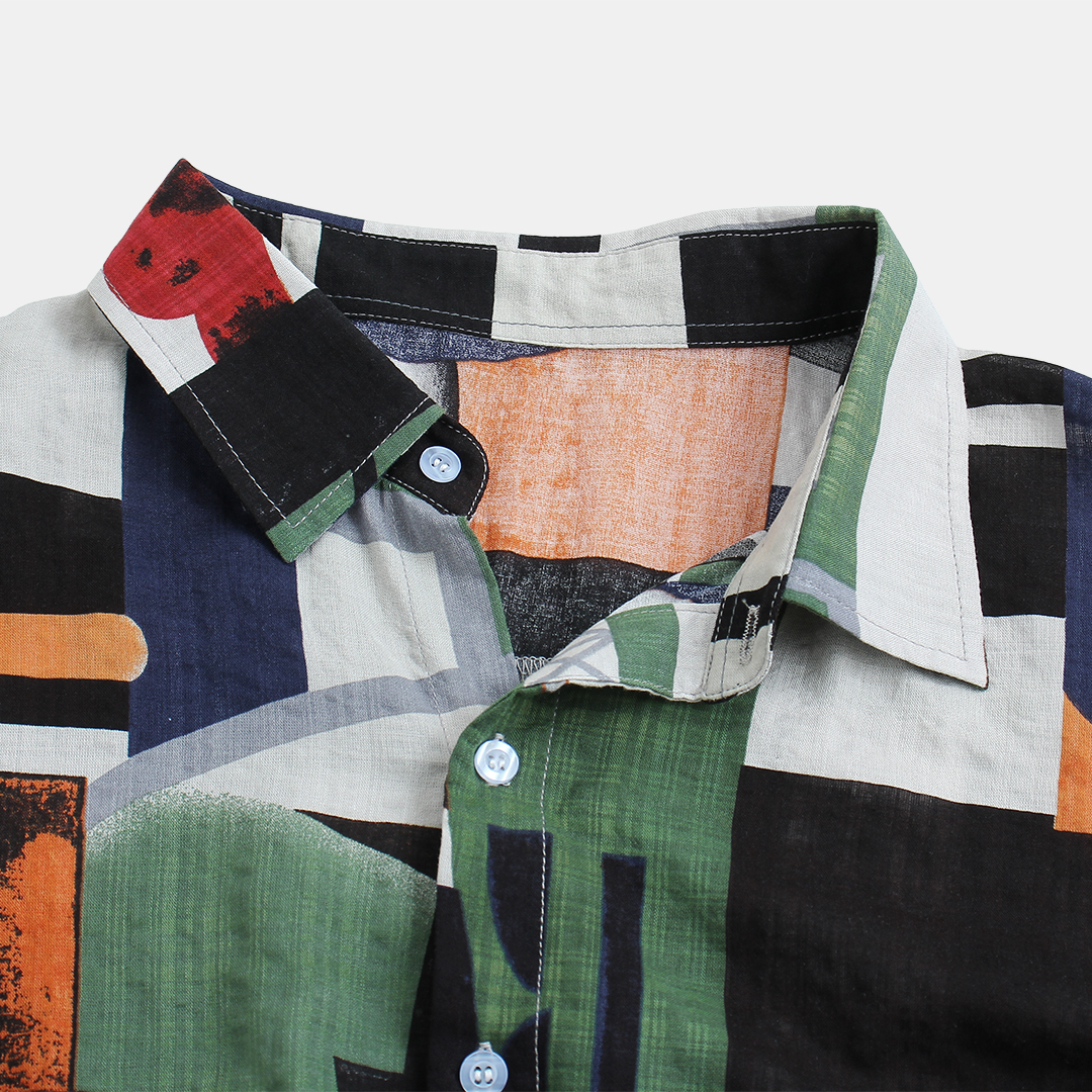 Men Abstract Colorblock Short Sleeve Relaxed Shirts
