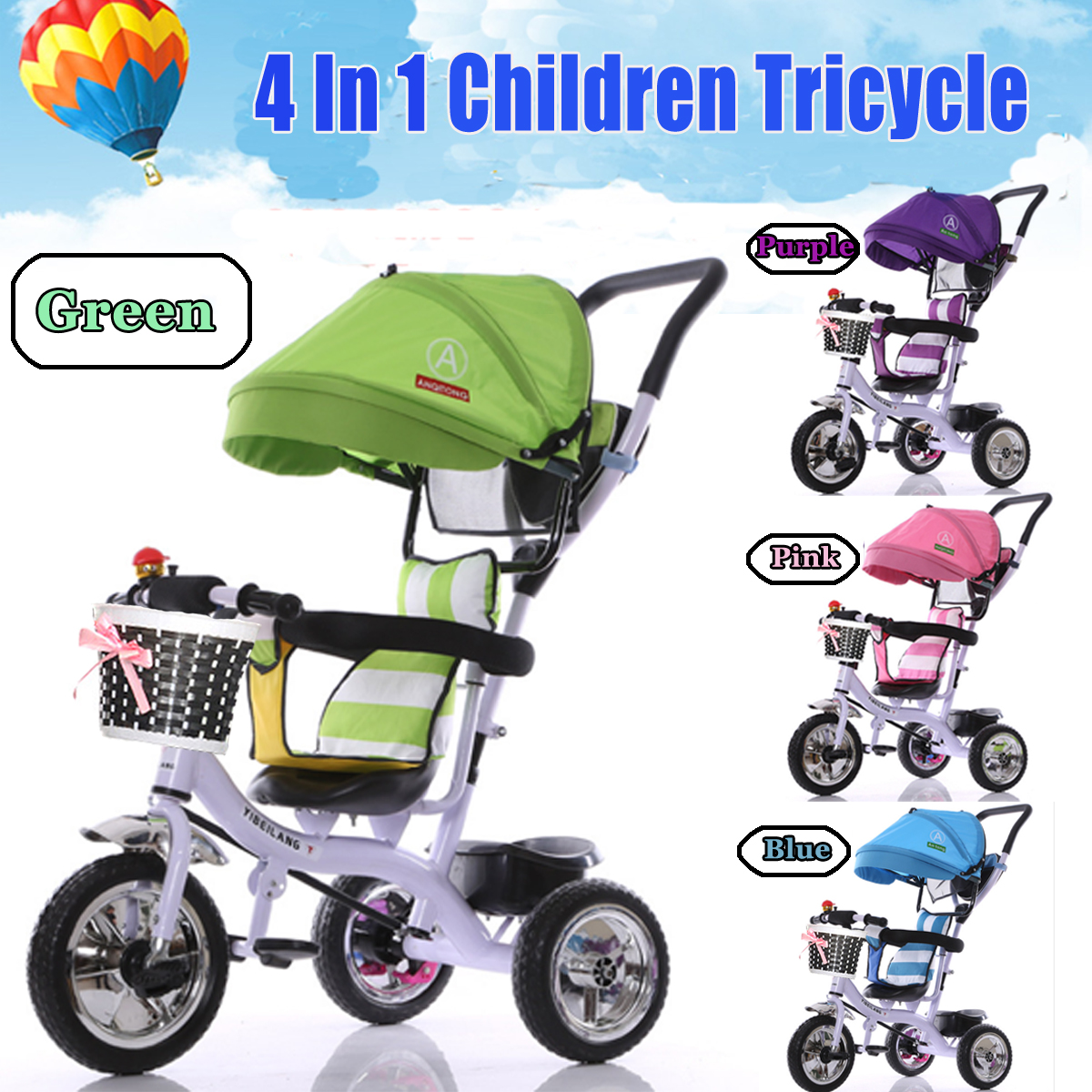 BIKIGHT Kids Tricycle Bike Children 3 Wheels With Shade Toddler Balance Protection Baby Cholley Mini Bike Safety
