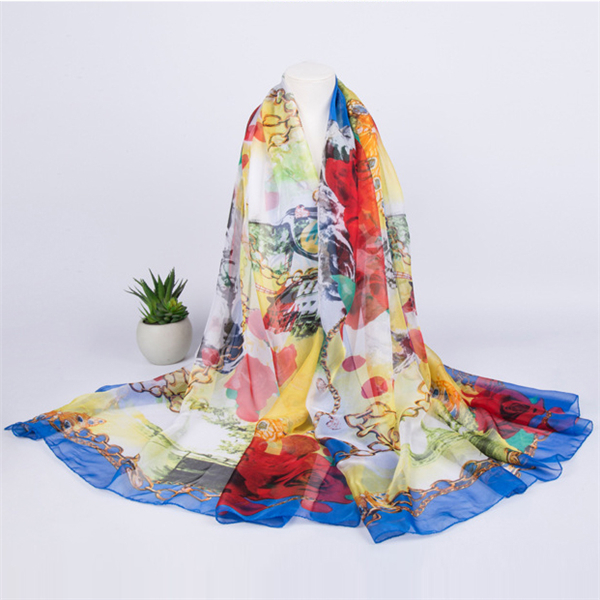 Summer Sunscreen Beach Towel Chiffon Soft Oversized Printing Scarves Shawls For Women