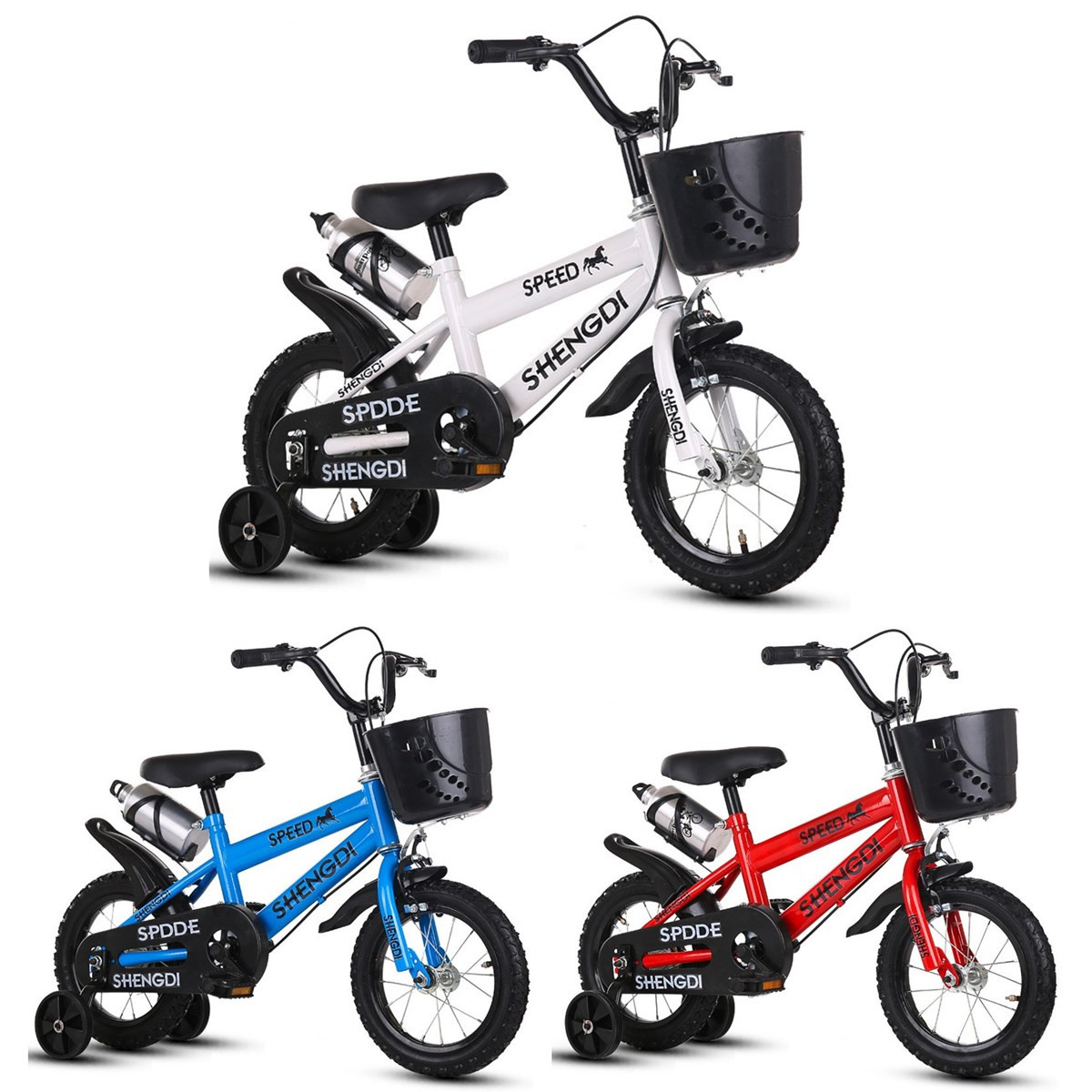 BIKIGHT 12 Kids Bike Tricycle 3 Wheels Balance Protection Safety Baby Safety Cycling Training Bike