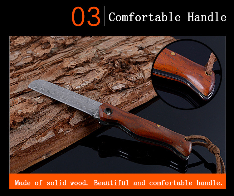 Damascus Steel Outdoor Folding Knife EDC Tool Multifunction Camping Tactics Knife Fishing Line Tyer