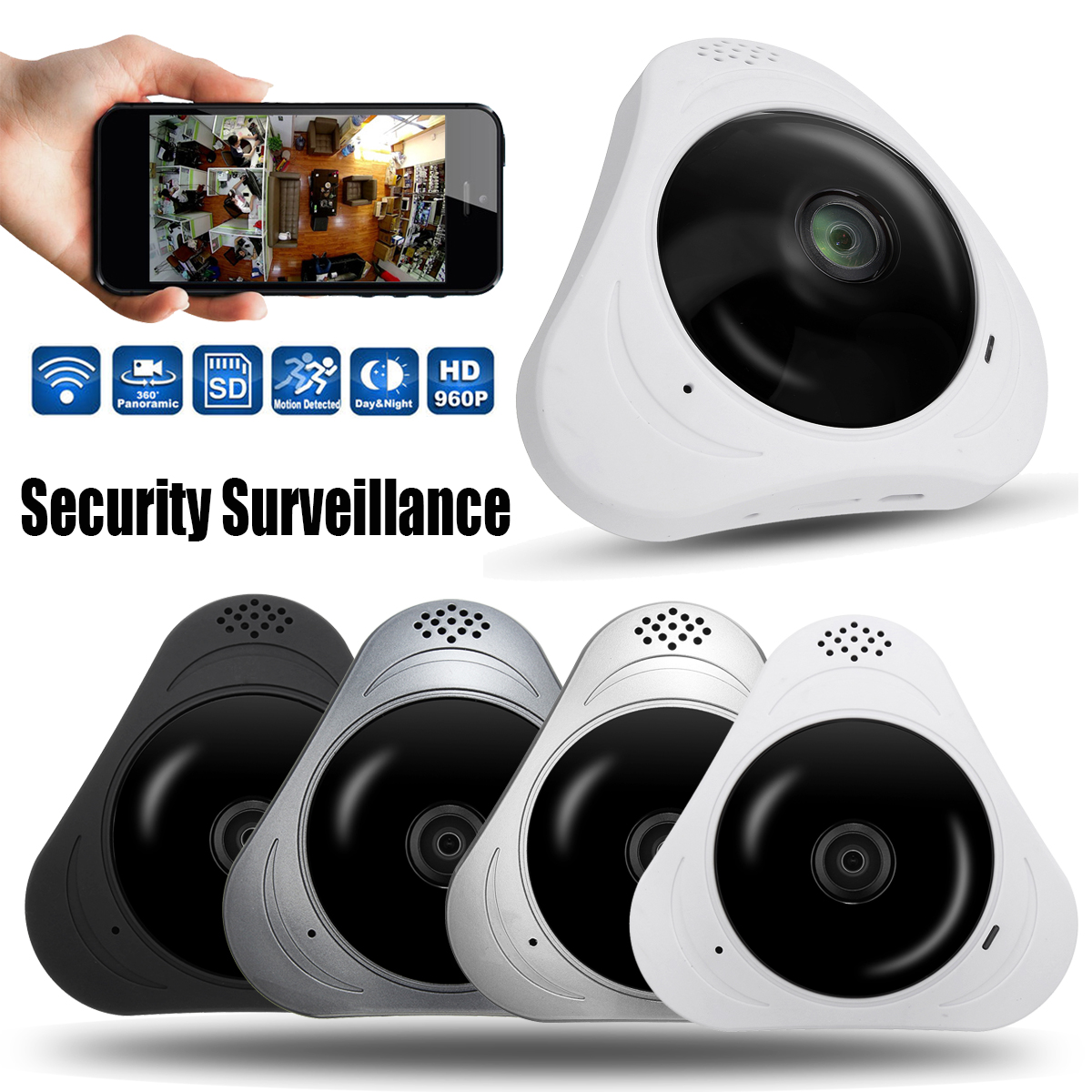 360° Panoramic Monitor 3D VR Fisheye Wifi IP Cameras Security Surveillance Home