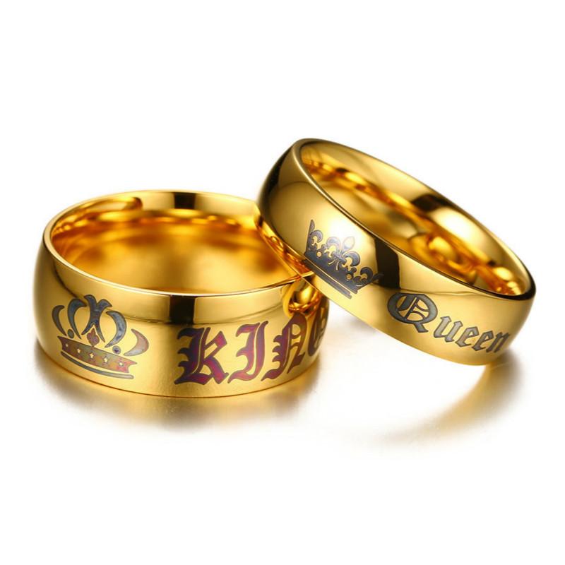 Nhẫn Màu Vàng Hợp Thời Trang Cặp Đôi Vương Miện Nhẫn Thép Không Gỉ Người Yêu Nhẫn Cho Nam Giới
