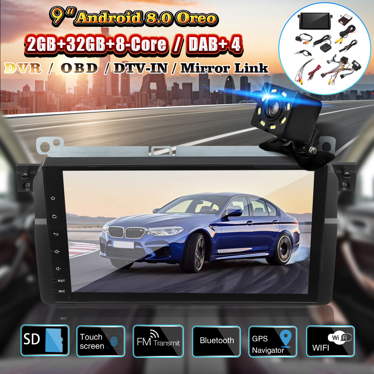 9 Inch Android 8.0 Car Stereo GPS Sat Navigation OBD DAB WiFi for BMW E46 M3 Rover 75 MG ZT
