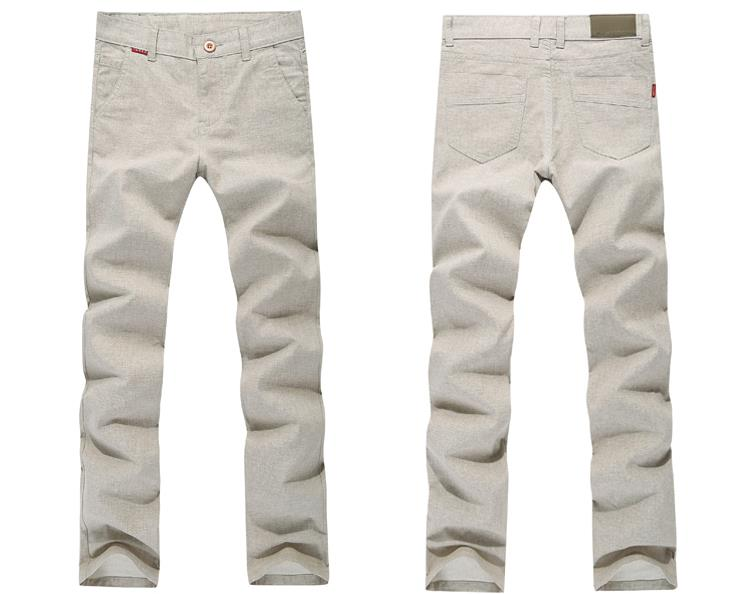 Linen Casual Solid Color Thin Pants Men's Soft Straight Micro Elastic Trousers