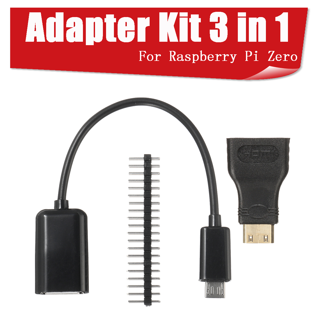 3 in 1 Mini HD to HD Adapter+Micro USB to USB Female Power Cable+40P Pin Kits For Raspberry Pi Zero