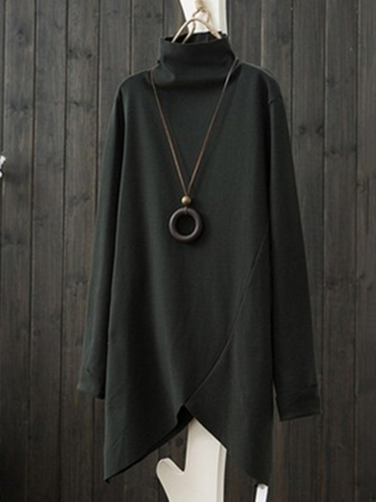 Women Loose Casual Long Sleeve High Collar Irregular Blouse