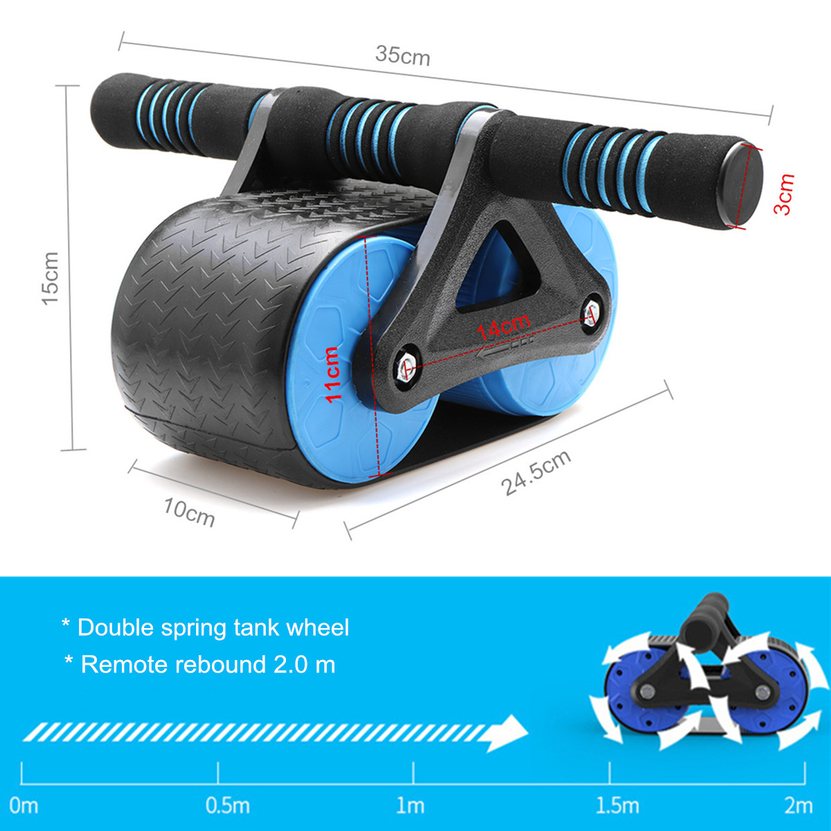 Double Wheeled Back Fitness Training Gym Abdominal Exerciser Power Roller