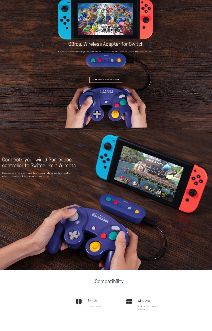 8Bitdo GBros bluetooth Wireless Adapter Converter for NES SNES NGC WII Classic Gamepad for Nintendo Switch Game Console