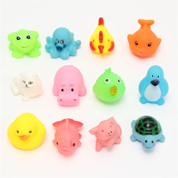 12pcs Rubber Float Toys Mixed Different Cute Animal Bath Washing Education Children Kids Shower Swimming Gifts