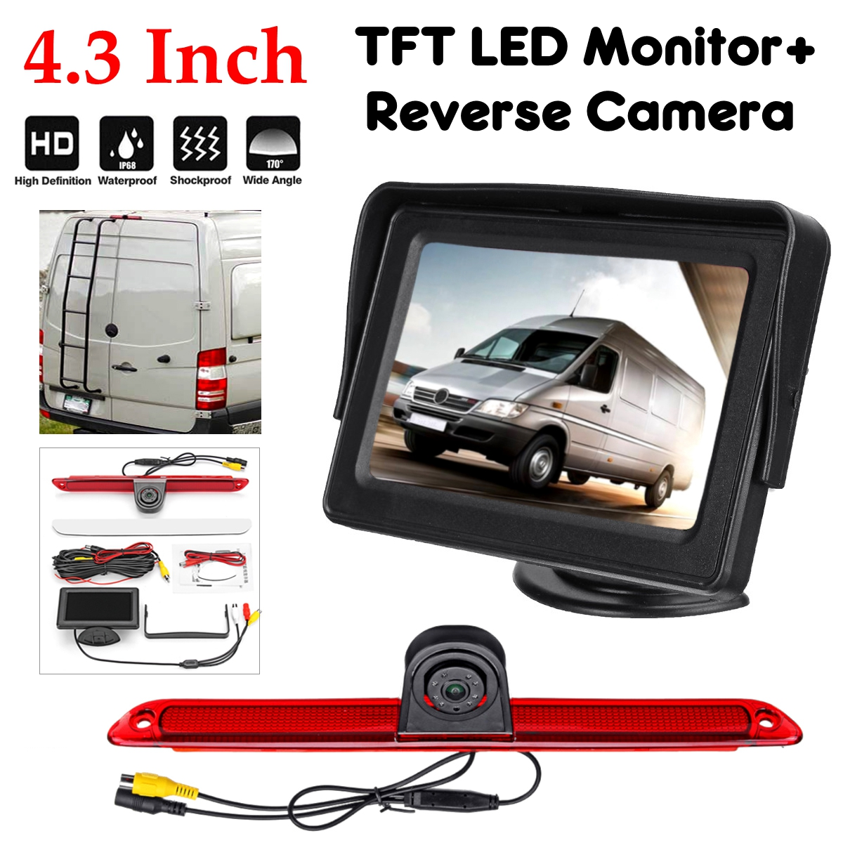 Brake Light Rear Reverse Car Camera + 4.3 Inch Monitor for Mercedes Sprinter VW