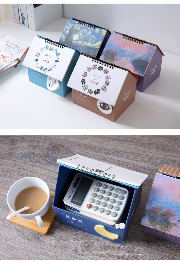 2018 Calendar Notebook Memo Storage Box House Container Desk Office Daily Planner Student Organizer