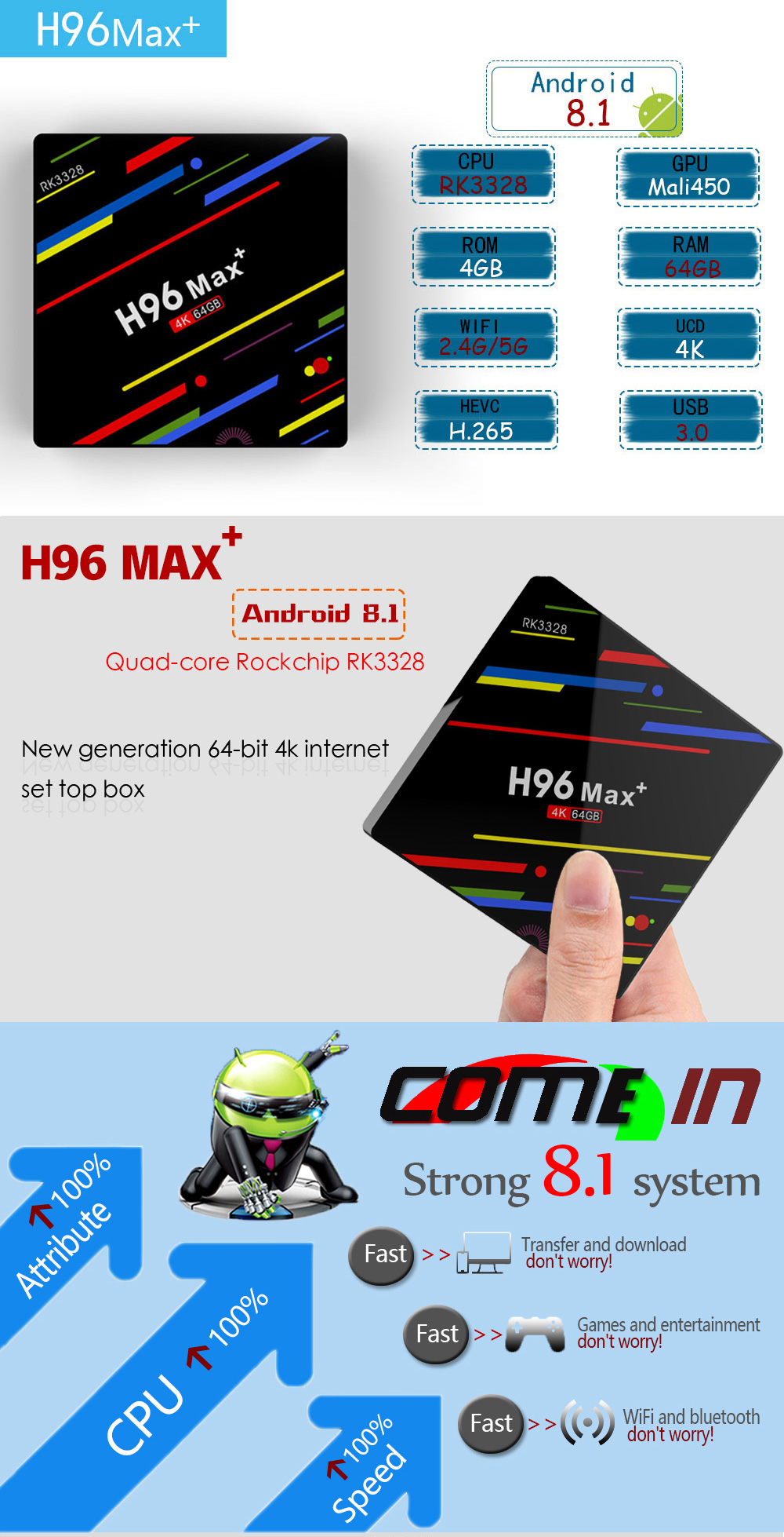 dcfb7287 69c3 4346 b4a0 2d41a19d9508 - H96 Max Plus RK3328 4GB RAM 64GB ROM Android 8.1 USB3.0 5G WIFI TVボックスサポートHD Netflix 4K Youtube