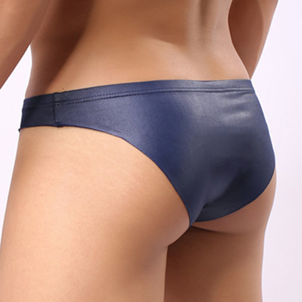Mens Fashion Sexy Soft PU Leather Solid Color Briefs Low Rise Underwear