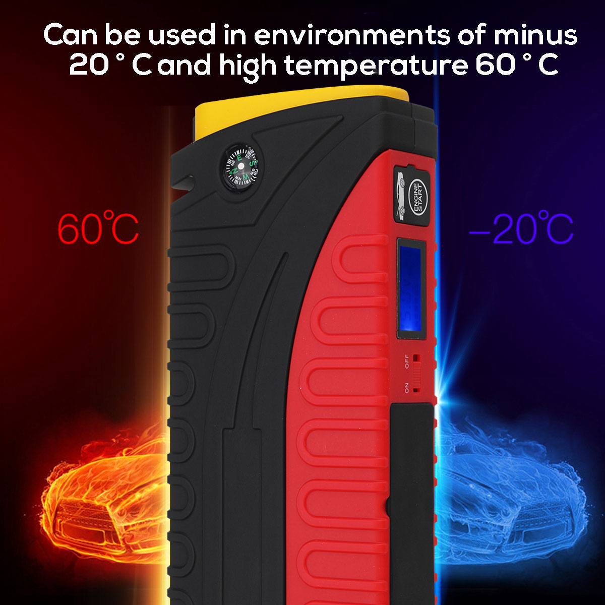 20000mAh 3 LED 4USB Waterproof Car Start Emergency Power Supply Car Jump Starter With Safety Hammer