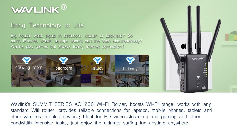 Wavlink AC1200 1200Mbps Dual Band 4x3dBi External Antennas Wireless WIFI Repeater Router
