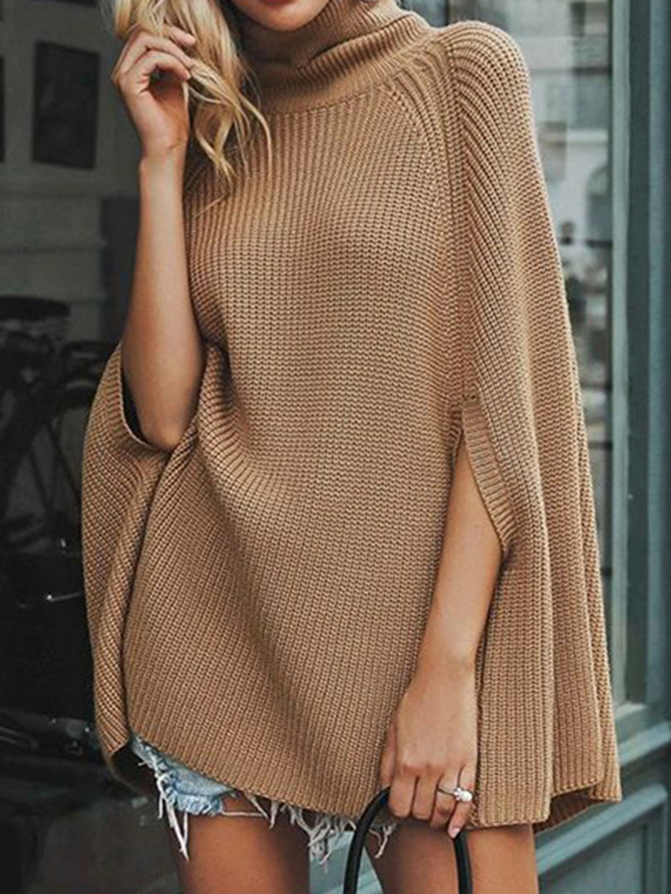 Women Batwing Sleeve Cape Turtleneck Solid Knit Coat