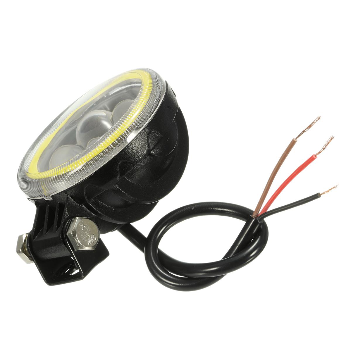 9V-30V 12V Round LED Hi/Lo Beam Work Light With RGB Angel Halo Spot Headlight