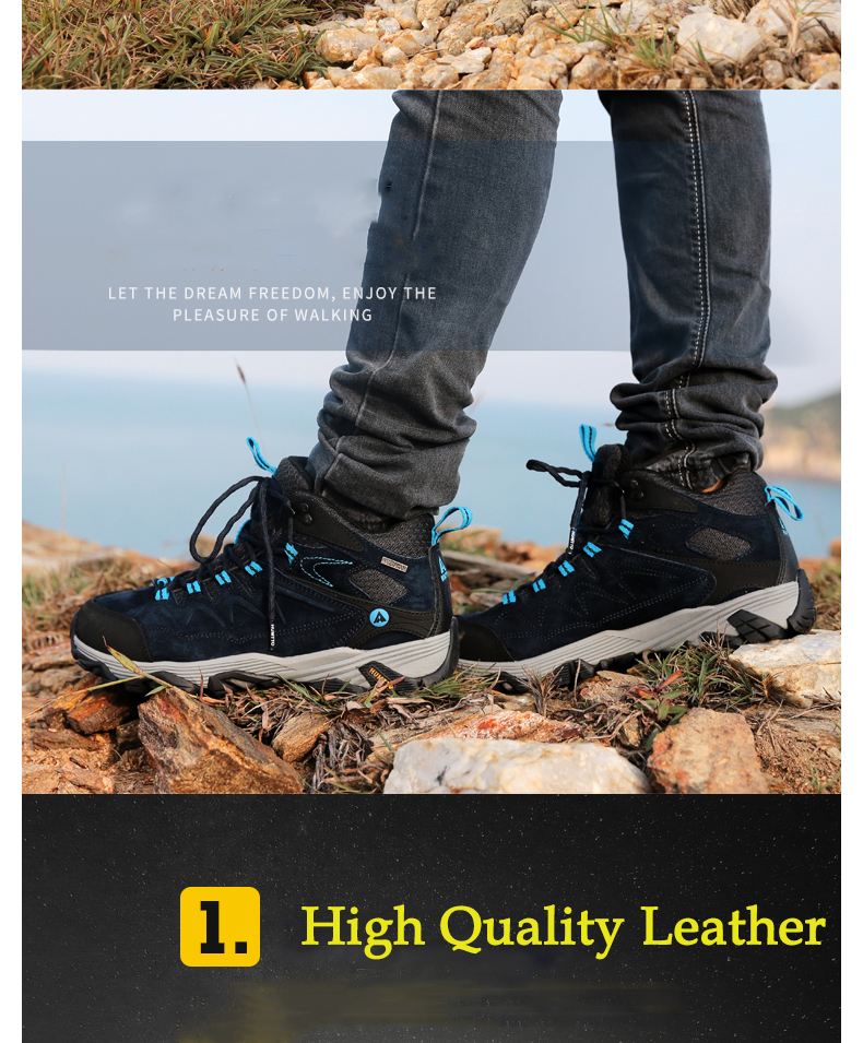 HUMTTO Men's Winter Leather Outdoor Hiking Trekking Boots Sneakers Shoes Sport Climbing Mountain