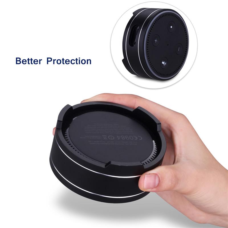 Universal Metal Round Reserved Charging Port Protective Cover Case for Echo Dot bluetooth Speaker