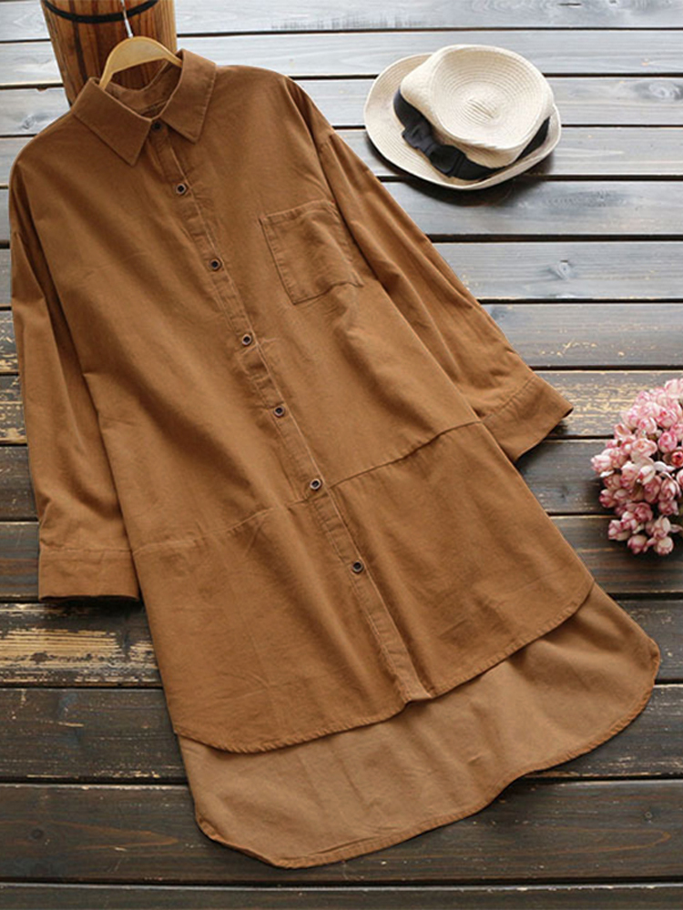 Women Vintage Long Sleeve Buttons Down Shirt Mini Dress