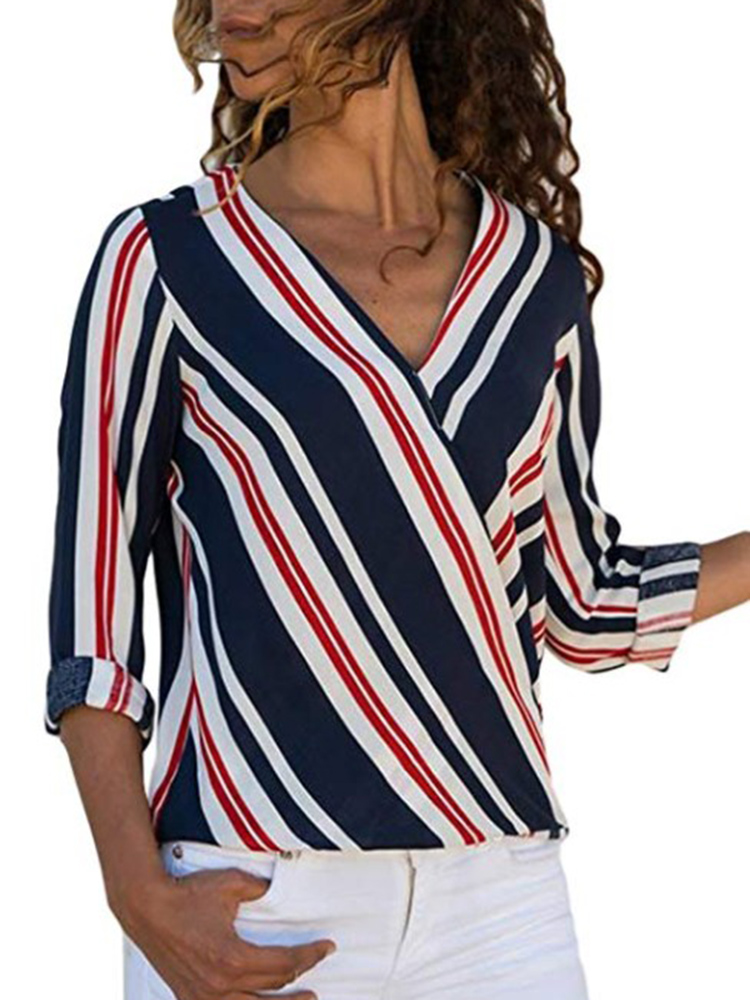 Casual Women Striped V-Neck Long Sleeve Blouse