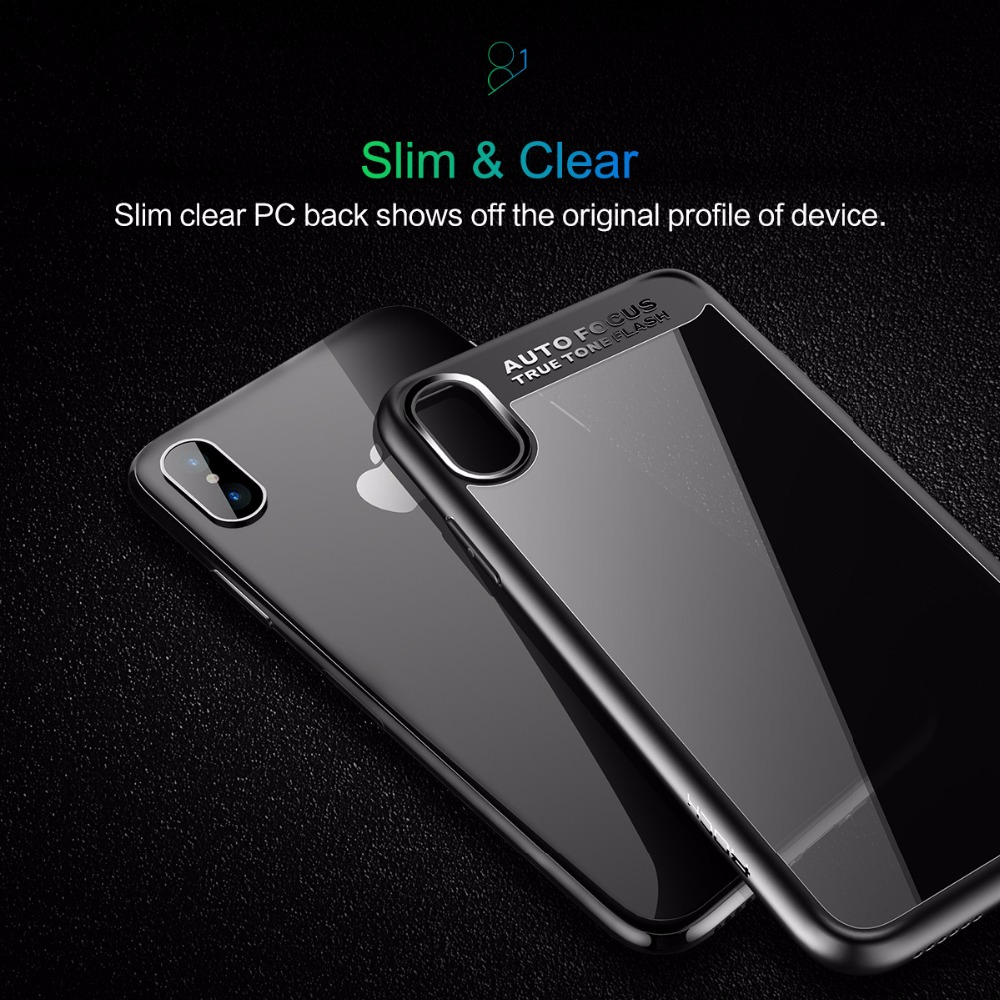 Bakeey Clear Transparent Anti Fingerprint Hybrid PC TPU Case For iPhone X