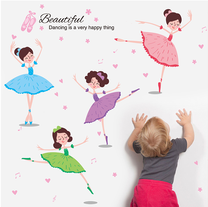 Colorful Kids Room Decor Ballet Dancing Girls Wall Sticker Removable Girls Room Decor