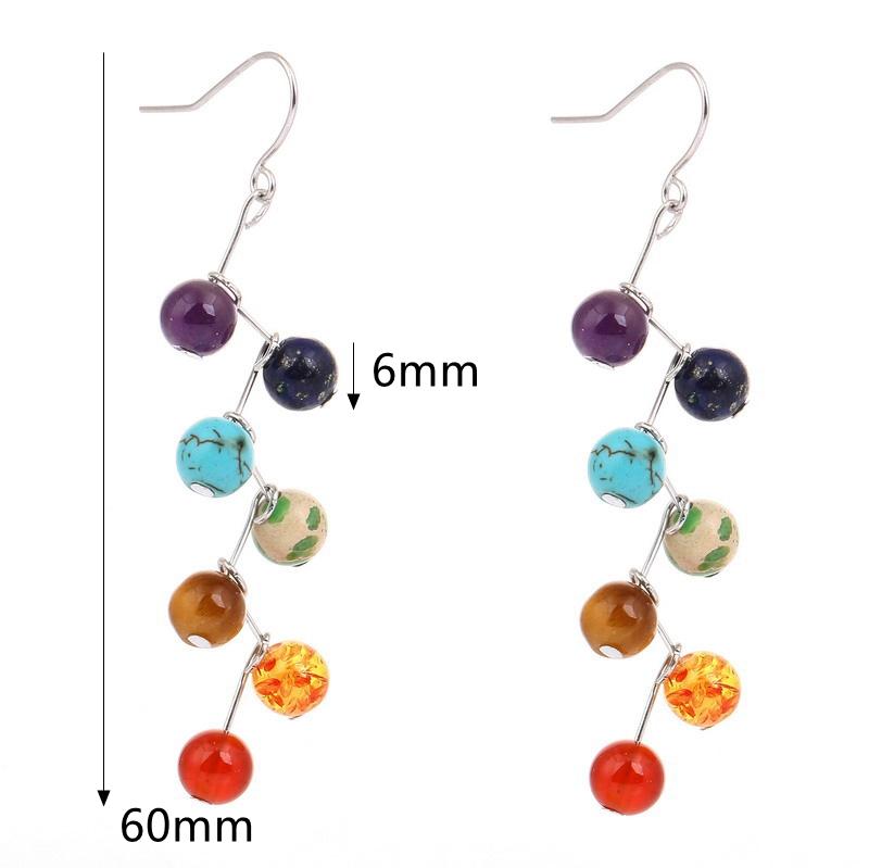 Women's Rainbow Stones Colorful Yoga Bead Dangle Earrings