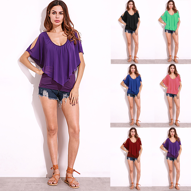 Low Cut V-Neck Ruffles T-Shirt