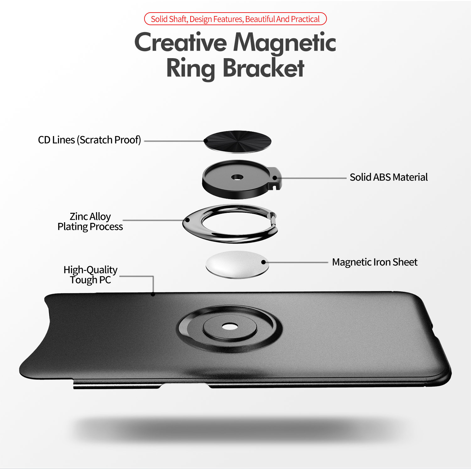 Bakeey Magnetic Car Holder Ring Holder Shockproof TPU Soft Protective Case For OPPO Find X