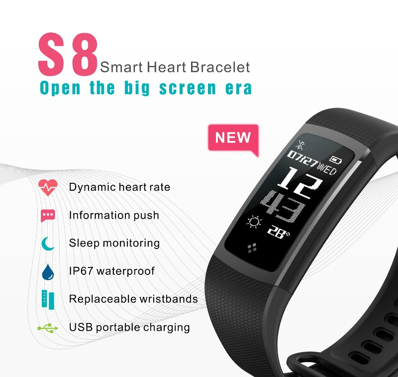 KASCA S8 IP67 Waterproof Heart Rate Monitor Bracelet USB Portable Charging Keep Healthy
