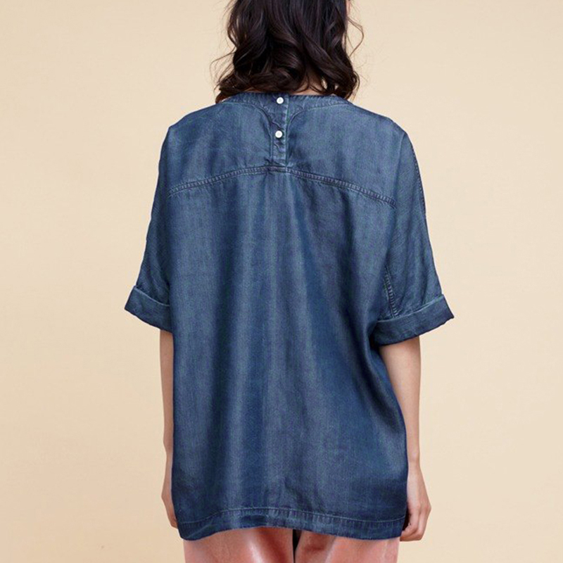 Women Casual Autumn Denim 3/4 Sleeve Loose Casual Top Blouse
