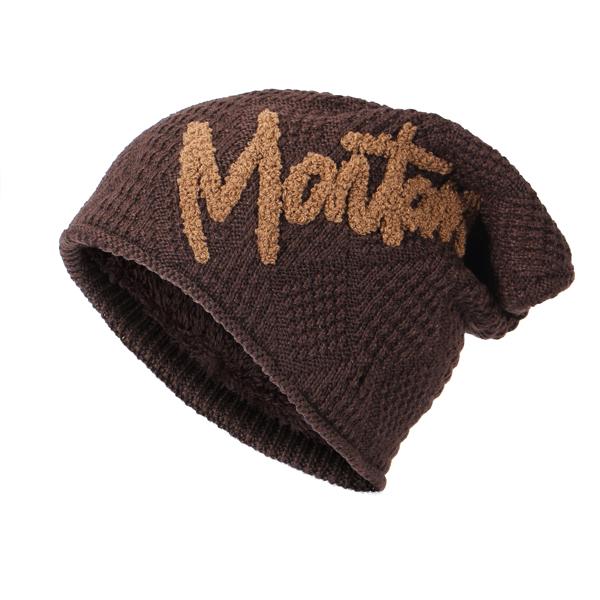 Mens Warm Plus Velvet Outdoor Letter Beanie Hat