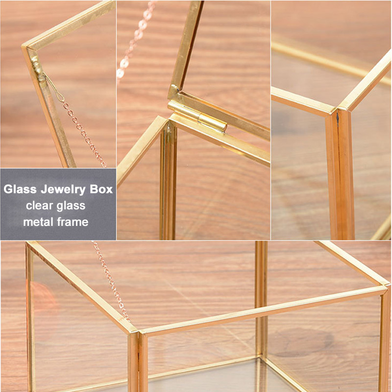 Square Geometric Clear Glass Jewelry Box Wedding Engagement