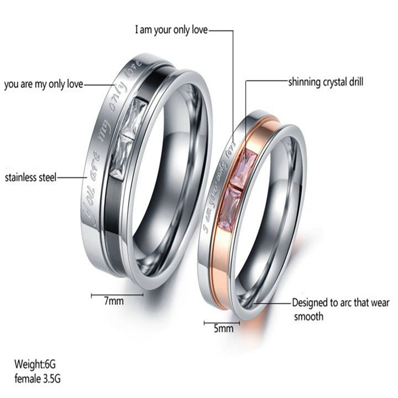 Sweet Stainless Steel Couple Ring Crystal Rose Finger Ring