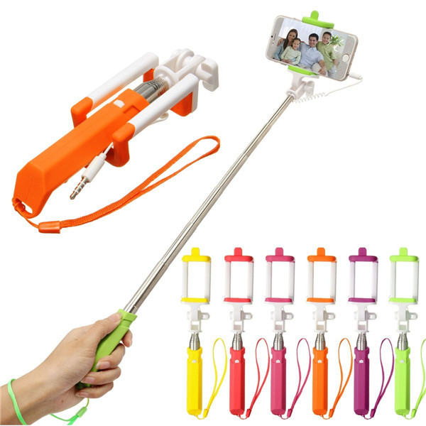 Extendable Handheld Selfie Stick Wired Remote Shutter Monopod For Iphone 6s Cell Phone