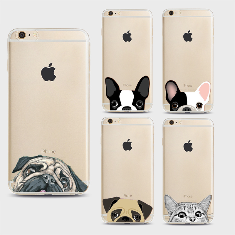Funny Cat Dog Cartoon Pattern Soft Ultra Thin Transparent TPU Silicone Case Cover For iPhone 7
