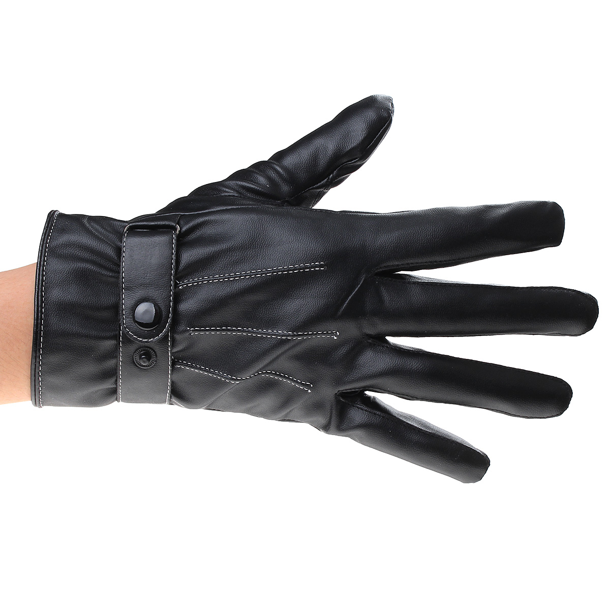 Men Fashion Winter Leather Motorcycle Driving Full Finger Gloves Touch Screen
